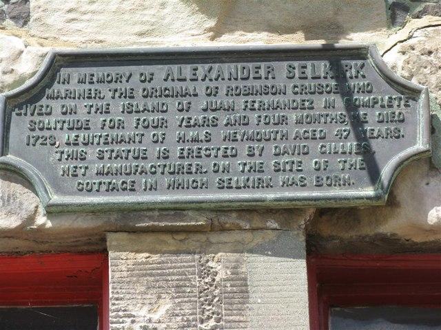Plaque in memory of Alexander Selkirk by M J Richardson