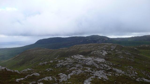 Looking across the Maol nan Ghobar spur to Beinn Bheigier