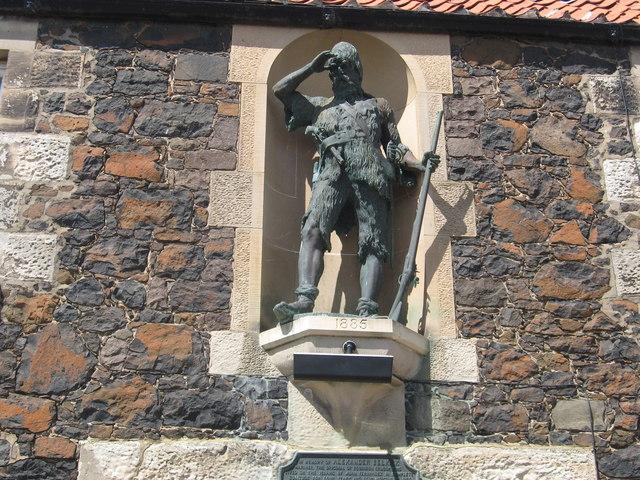 Statue in memory to Alexander Selkirk in Lower Largo by James Denham