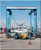 SZ3394 : Boat cradle transporter at Haven Boatyard by Andy F