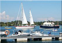 SZ3394 : Sailing and motoring upriver at Lymington by Andy F