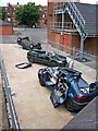 SO9084 : Crashed cars at Stourbridge Community Fire Station by P L Chadwick