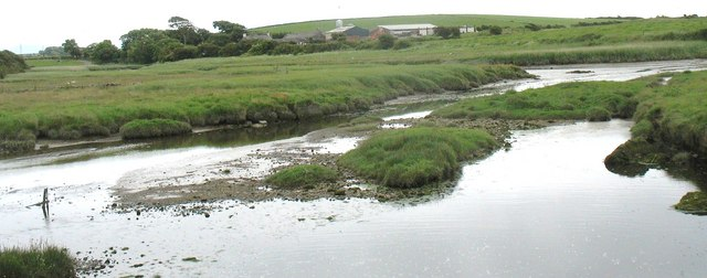 Afon Dronwy at its confluence with Afon Alaw