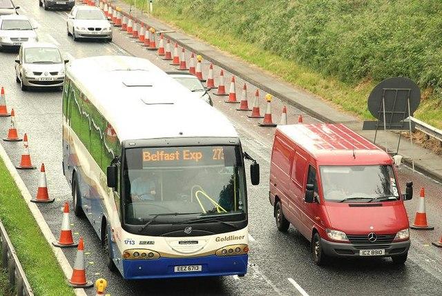 Motorway coach near Lisburn