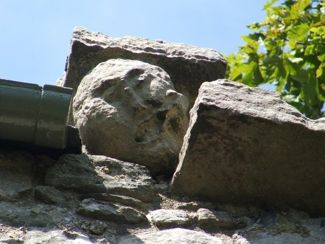 Dumbarton Rock: Carved face on Guard House