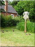 TL3835 : Barkway village sign and pond by Mike W Hallett