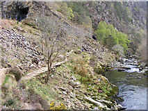 SH5946 : Fisherman's path and railway tunnel, Aberglaslyn path by Phil Champion