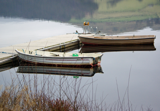 Fishing boats moored on Ladybower Reservoir