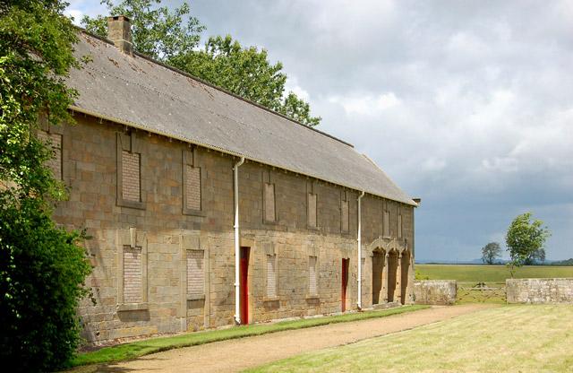 Stone barn behind Belsay Castle