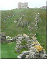 SX0588 : Ruined walls of the outer ward of Tintagel Castle by Humphrey Bolton