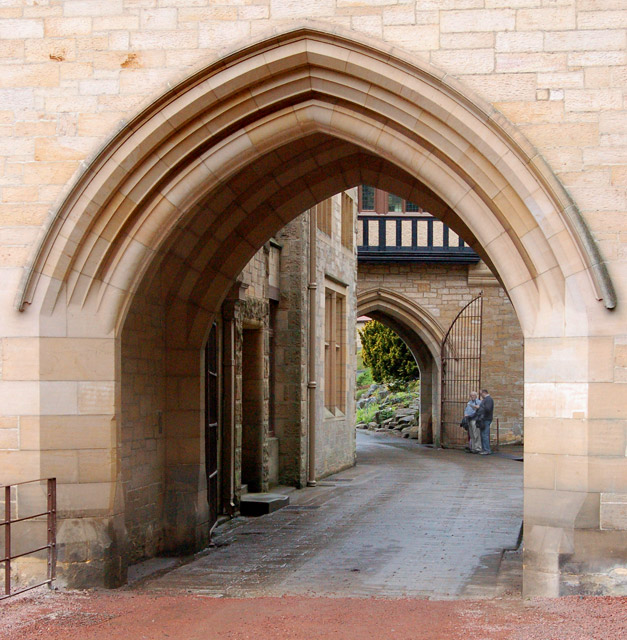 The archway through Cragside house