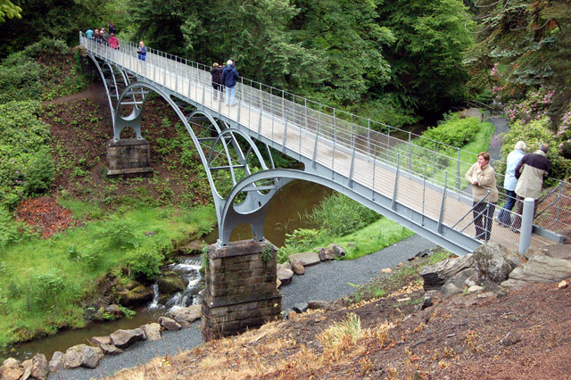 Visitors on the Iron Bridge, Cragside