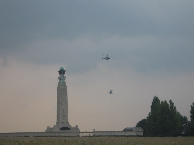 Helicopters over Chatham War Memorial.