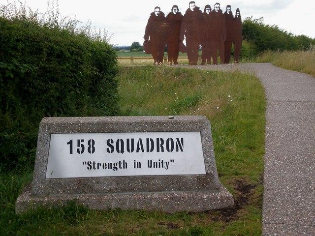 Metal sculpture memorial to RAF's 158 Squadron, Bomber Command, Lissett