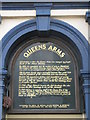 NZ2564 : Information board for The Queen's Arms, Simpson Terrace by Mike Quinn