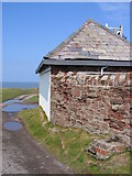 SJ1888 : Hilbre Island Telegraph Station and a bench mark by John S Turner