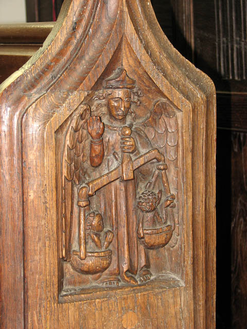 St Mary's church - C15 carved bench end (restored)