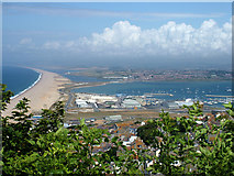 SY6874 : Weymouth town and harbour, and Chesil Beach by John Goldsmith