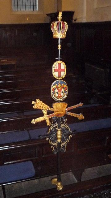 St Clement Eastcheap - sword rest - rear, full length