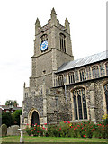 TM0890 : St Martin's Church - tower and south porch by Evelyn Simak