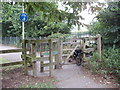 TQ1283 : Difficult entrance to cycle path at Rectory Fields by David Hawgood
