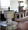 TM0389 : All Saints Church - C14 font and C17 pulpit by Evelyn Simak