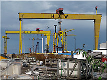 J3574 : Cranes and construction site, Belfast by Rossographer