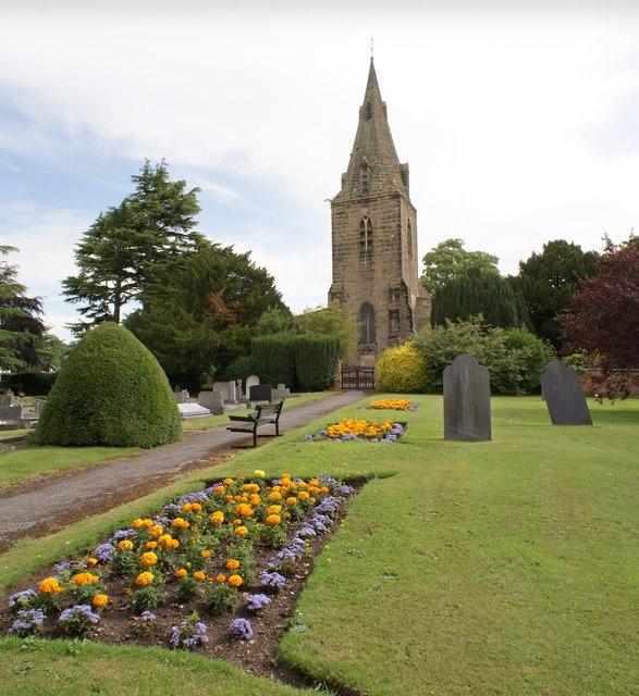 St. Helen's graveyard with summer blooms