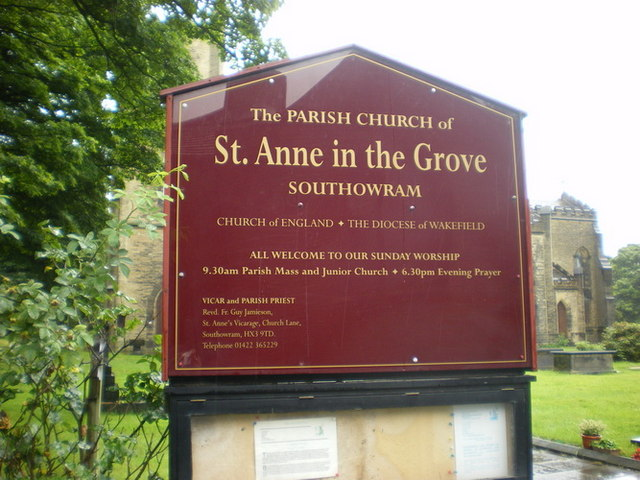 The Parish Church of St Anne in the Grove, Southowram, Sign