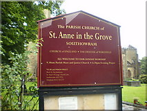 SE1223 : The Parish Church of St Anne in the Grove, Southowram, Sign by Alexander P Kapp