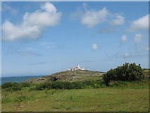 SH4793 : View north to Point Lynas lighthouse by Eric Jones