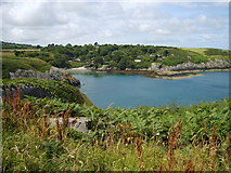 SH4793 : Porth Eilian from the cliff top south of the Point Lynas lighthouse by Eric Jones