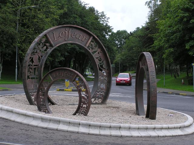 """Three Coins"" sculpture, Lifford"