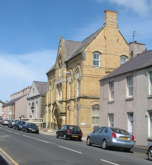 The Holyhead Town Hall and the English Baptist Chapel, Newry Street