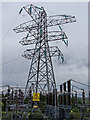 NG6224 : Electricity pylon, Broadford sub-station by Richard Dorrell