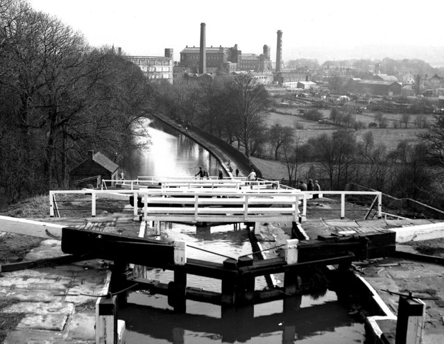 Looking down the Five Rise Locks at Bingley, Leeds and Liverpool Canal