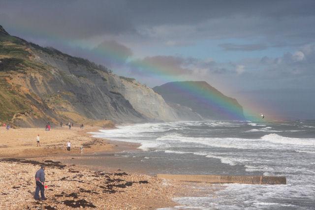 Rainbow at Charmouth Beach