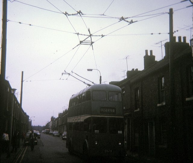 Tees-side trolleybus at North Ormesby reverser