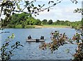 SP9113 : Trout Fishing from a boat on Tringford Reservoir, Tring by Chris Reynolds