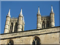 SK9771 : Lincoln Cathedral: west towers from Exchequer Gate by John Sutton
