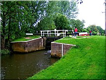 SU9946 : Unstead Lock looking south, Godalming Navigation by L S Wilson