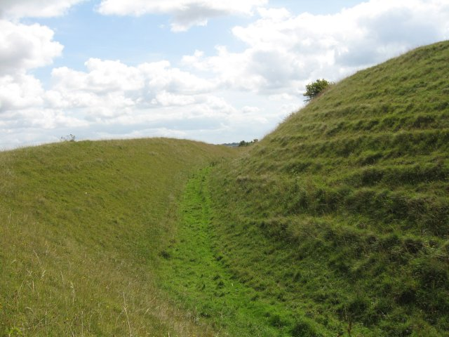 Ramparts and ditch, Hod Hill