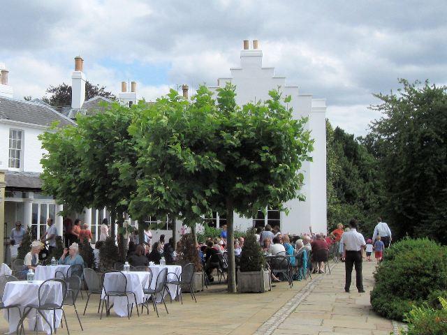Café tables on the Terrace at Pembroke Lodge, Richmond Park