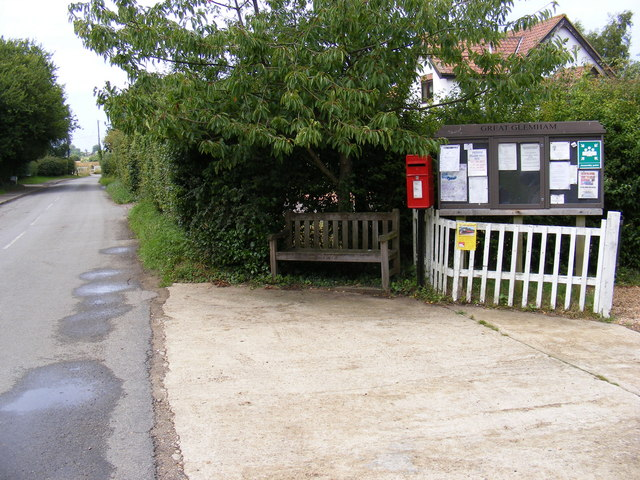 Low Road, Great Glemham Village Notice Board &  Post Office Postbox