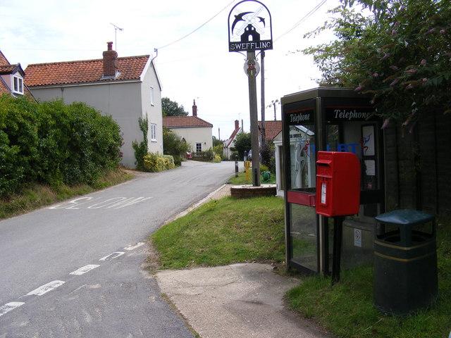 Glemham Road, Sweffling Village Sign, Telephone Box & Main Street Postbox