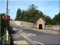 SK2572 : Bridge at Baslow, with toll booth and telephone box by Peter Barr