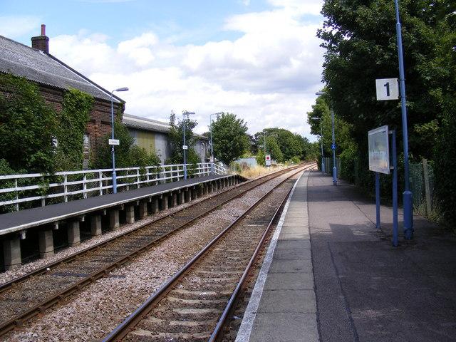 Platform at Saxmundham Station