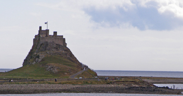 Lindisfarne Castle viewed from about sea level