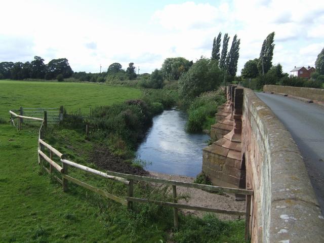 River Penk upstream at Cuttlestone Bridge