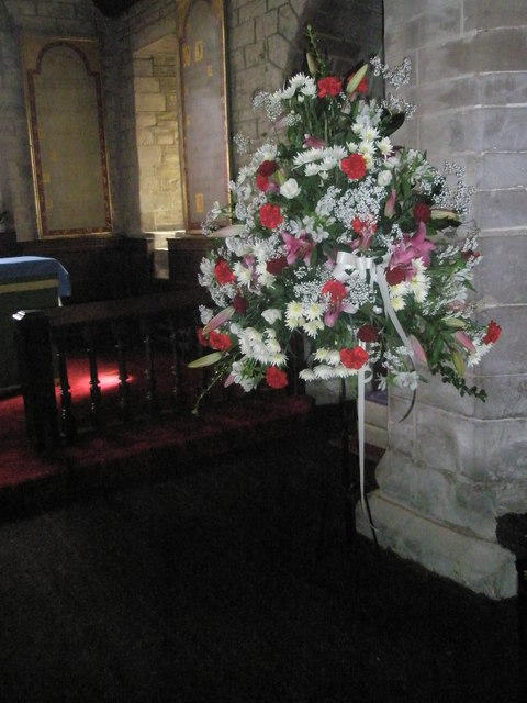 Floral display approaching the altar at St Giles, Ludford by Basher Eyre